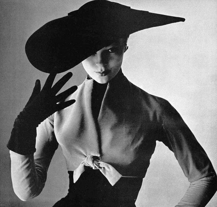 Ivy Nicholson in beige velvet short bolero over wool dress by Christian Dior, photo by Pottier, 1951