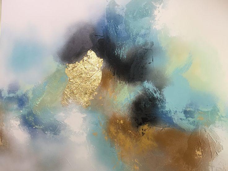 """Sea views"" 1a. 1 m x 1 m. Acryl på canvas."