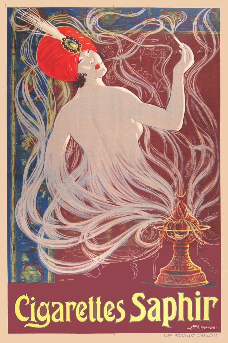 Cigarettes Saphir vintage poster
