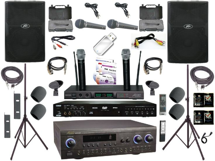 This is the K1-Gold Series professional karaoke system brought to you by MADPROAUDIO. Featuring the Audio2000 akj7403 amplifier, Peavey PVX12 speakers, audio2000 awm6122u dual UHF wireless microphones with built in recharging station and so much more!