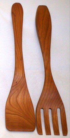 "11"" Salad Servers (Fork & Paddle) - Cherry by Brentwood Mills. $14.99. Made in US. Green and Environmentally Friendly. Handmade Wooden Salad Servers - Cherry. With simple care will last a lifetime. Food Safe. Beautiful and increasingly rare 11"" wooden (Cherry) utensils made almost entirely by hand in accordance with old traditions by one of the finest remaining craftsman in the US. Green & environmentally friendly. Made from renewable resources. Completely Foo..."