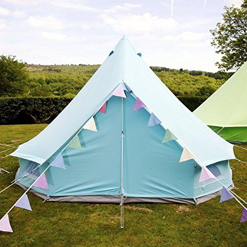 Boutique Camping Sky Blue Bell Tent With Zipped in Ground Sheet 4 Metre