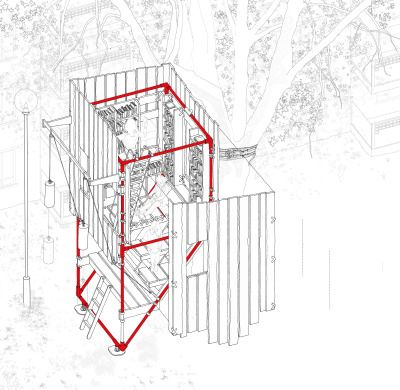 Oliver Parkinson, Year 3 'Hydro Hydraulic Habitation'A mixed-use high density housing scheme built on the anticipation of future flood risk to our built environment. The scheme embraces rather than barricades against water, utilizing the redundant canal network as a future asset. The narrow high-rise typology floats on a series of pontoons, all of which are constructed as modular components. These pieces can be constructed along the canal systems as far as Birmingham, enabling the scheme to…