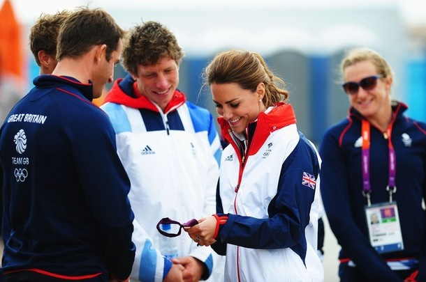 WEYMOUTH, ENGLAND - AUGUST 06:  Catherine, Duchess of Cambridge meets Finn class gold medal winner Ben Ainslie of Great Britain on Day 10 of the London 2012 Olympic Games at the Weymouth & Portland Venue at Weymouth Harbour on August 6, 2012 in Weymouth, England.
