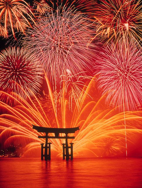 Miyajima Water Fireworks for Itsukushima Shrine, Japan, Photo by Daisuke Hoshina, via Flickr