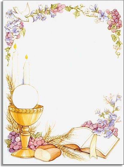Holy Communion - This Holy Communion invitation is decorated with floral and grape vines with a dove swooping gracefully down. Across the bottom is a golden goblet with eucharist and a loaf of bread resting near an open prayer bible.  Two glowing candles are visible in the background. Inkjet/laser compatible and available blank or personalized. Includes envelope with coordinating design.