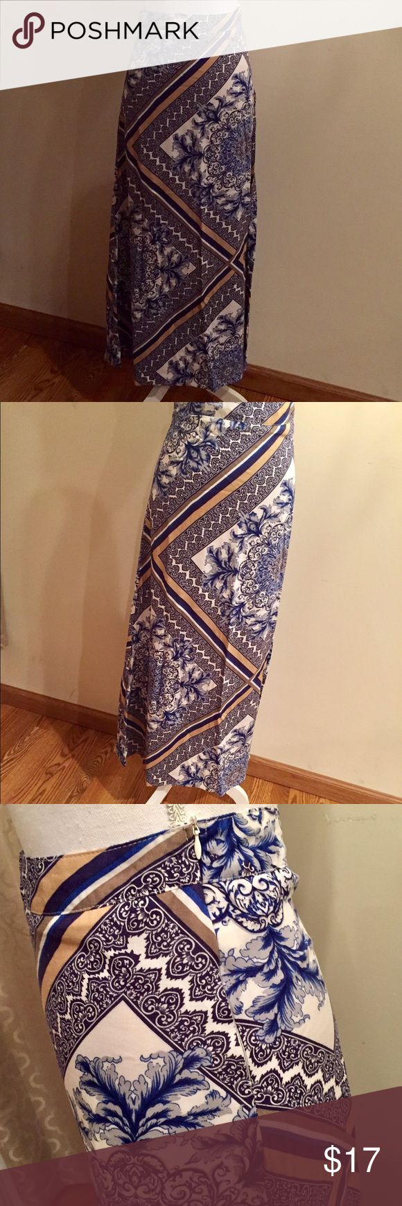 Skirt // REDUCED✨ Blue, White & Beige Maxi Skirt •size small •100% rayon, liner is 100% polyester •zipper along left hip (about 7 inches) •reaches the floor, one length all around  Super comfy, pair with tan sandals & a plain white fitted tank top⛵️🏖☀️ Oxford Circus Skirts Maxi