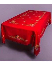 Mantel de Lagartera de Navidad. Bordado a mano 100%, tradición lagarterana para tu mesa.