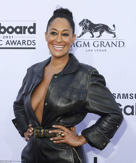 That's an eyeful! Black-ish star Traci Ellis Ross let it all hang out in her belted black ...