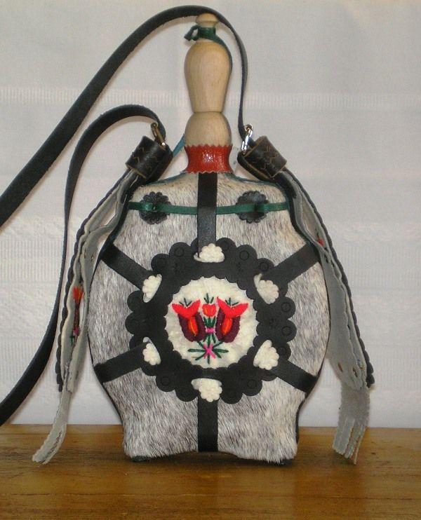 "Hungarian traditional handmade flask - ""csikóbőrös kulacs""."