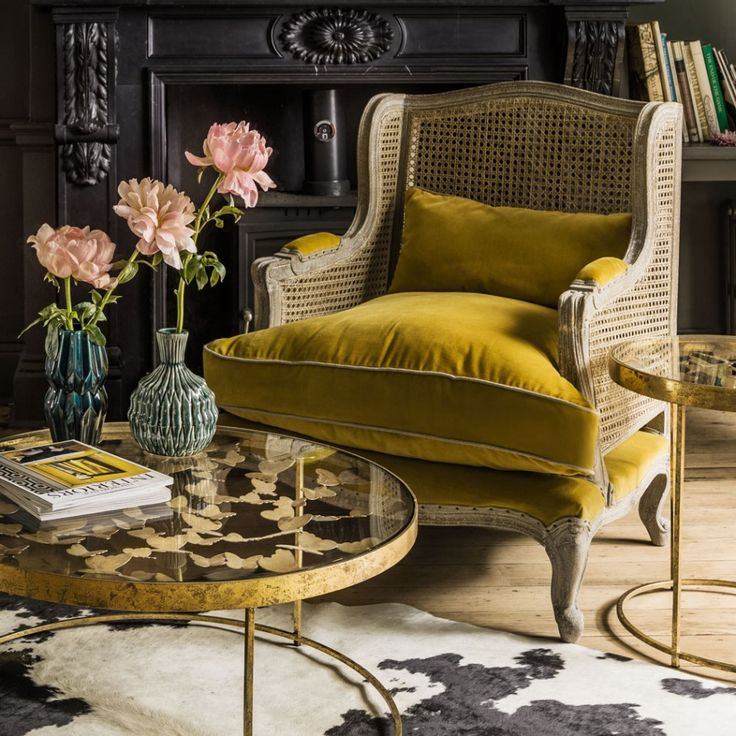 Graham and Green - Yellow Velvet Caden Cane Armchair