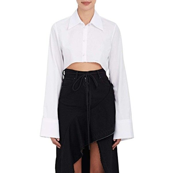 Off-White c/o Virgil Abloh Women's Cotton Poplin Crop Blouse featuring polyvore, women's fashion, clothing, tops, blouses, white, long-sleeve crop tops, long blouse, white bell sleeve blouse, white embroidered blouse and embroidered blouse