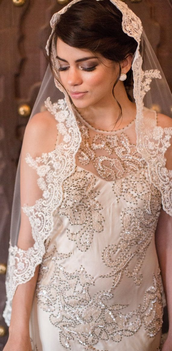 Cream Wedding Veil Champagne Bridal Cathedral Lace Mantilla Beaded By
