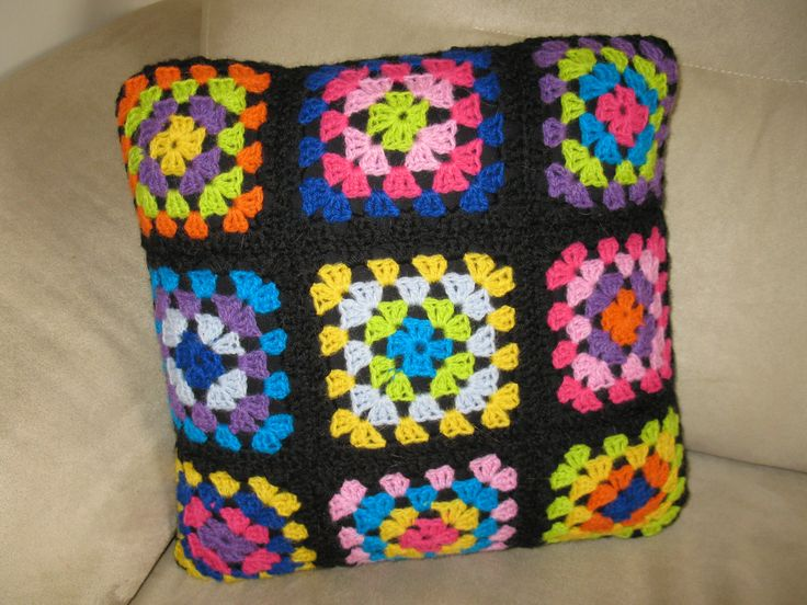Crocheted Cushion Cover - the colours are wonderful! Nicki Trench's crochet club design. Yarn is tove by SandnesGarn.