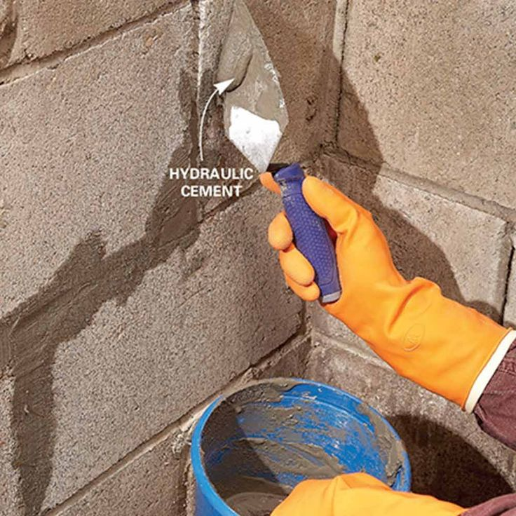wet basement for good plug holes and cracks with hydraulic cement