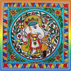 Madhubani Folk Art Ganesh - Indian Hindu