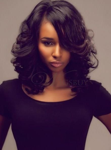 Charming Sexy Girl Medium Wave Lace Front 100% Human Hair Wigs 14 Inches