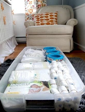 Under-crib storage Utilize under-crib space with big storage boxes for extra diapers, wipes, and more. Blogger A Lovely Life kept the storage box out of sight with a crib skirt.  Get the look: Under Bed Storage Box ($14 at Ikea).