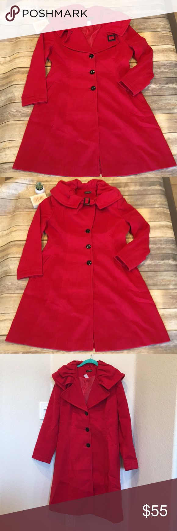 🦋Venus Red Trench Coat NWT (ordered online, so no tags, but will ship in bag it arrived it).  This is so gorgeous!   Even has a slide button to protect your neck from frosty weather.  Pockets are not functional.  Please see photos for approximate measurements of item lying flat.    🖤Thanks for stopping by! 🦋M60 VENUS Jackets & Coats Trench Coats