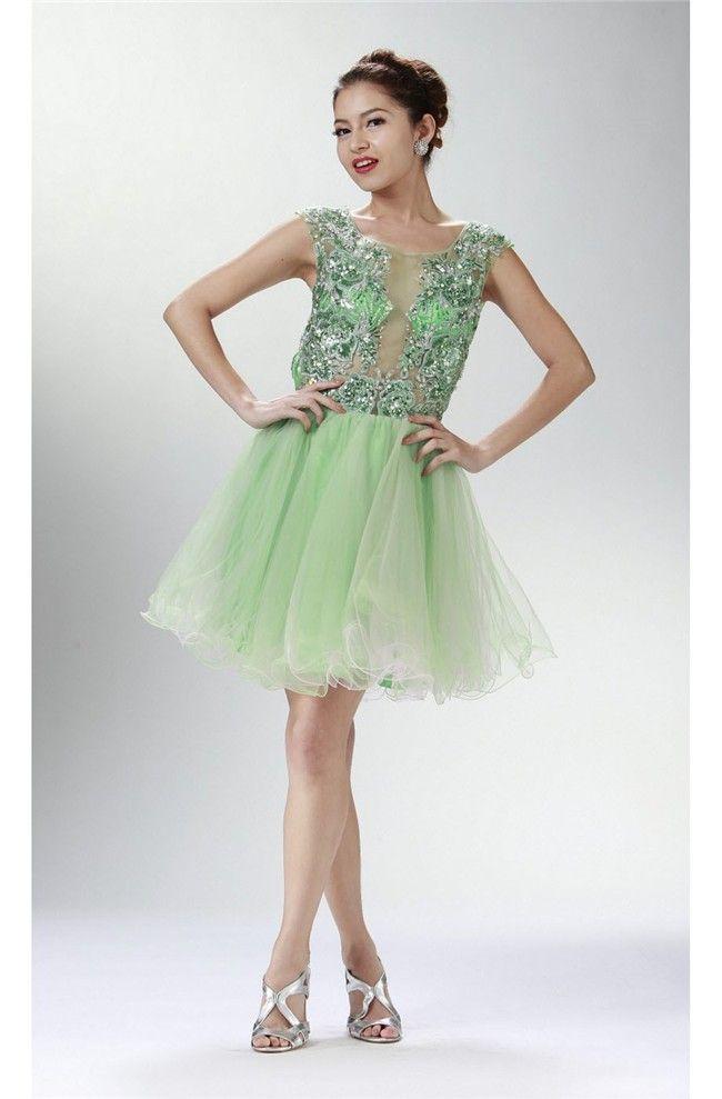 Cap Sleeve Open Back Short Lime Green Tulle Beaded Cocktail Prom Dress