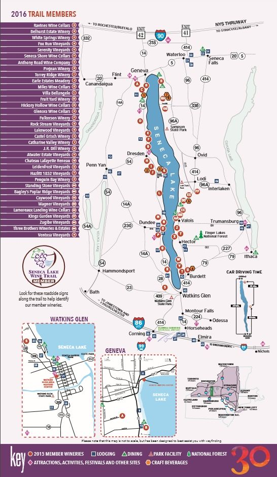 2016 Seneca Lake Wine Trail Map
