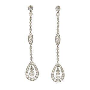LOT:441   A pair of early 20th century diamond ear pendants.