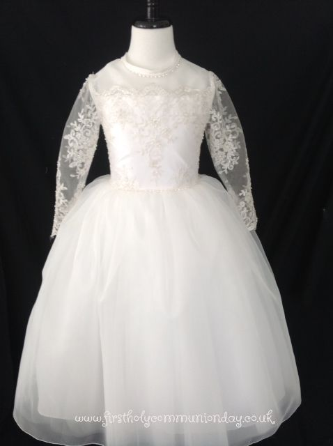 Christie Helene Couture Communion Dress - Julia - Diamond White Silk Lace First Communion Dress with Long Sleeves - Designer First Holy Communion