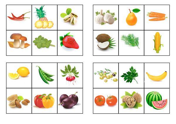 """Детская игра про овощи, лото для детей своими руками """"Овощи и фрукты"""" скачать бесплатно, распечатать"""