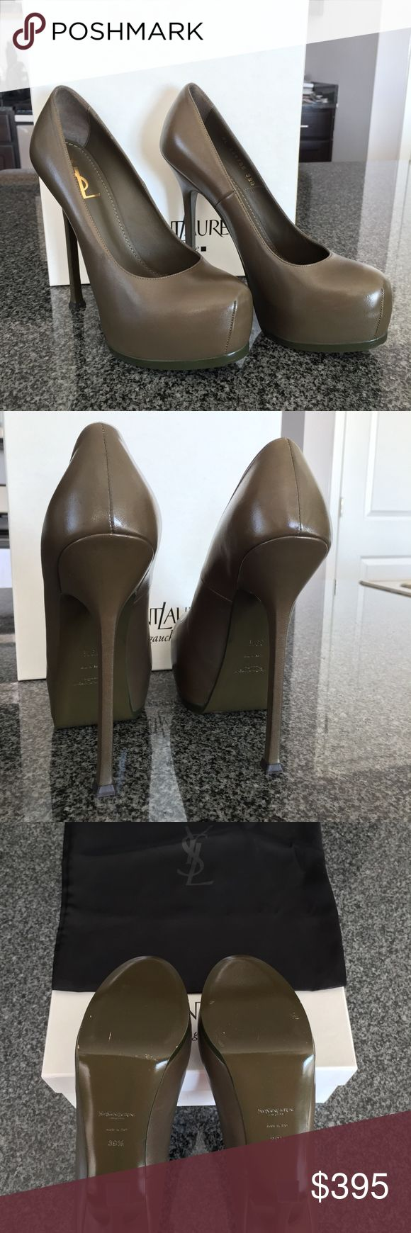 """Yves Saint Laurent Tribtoo Napa Pump 39.5 Brand New! Never worn except around Saks Fifth Avenue during purchase! Description from neimanmarcus.com: This pump pulls no punches. A dramatic platform lifts a simply silhouetted leather Yves Saint Laurent pump. Napa leather pump with tonal topstitching. Darted crescent toe; 1 1/4"""" hidden platform. 5 1/2"""" covered heel; 4 1/4"""" equiv. """"Tribtoo"""" is made in Italy. Yves Saint Laurent Shoes Heels"""