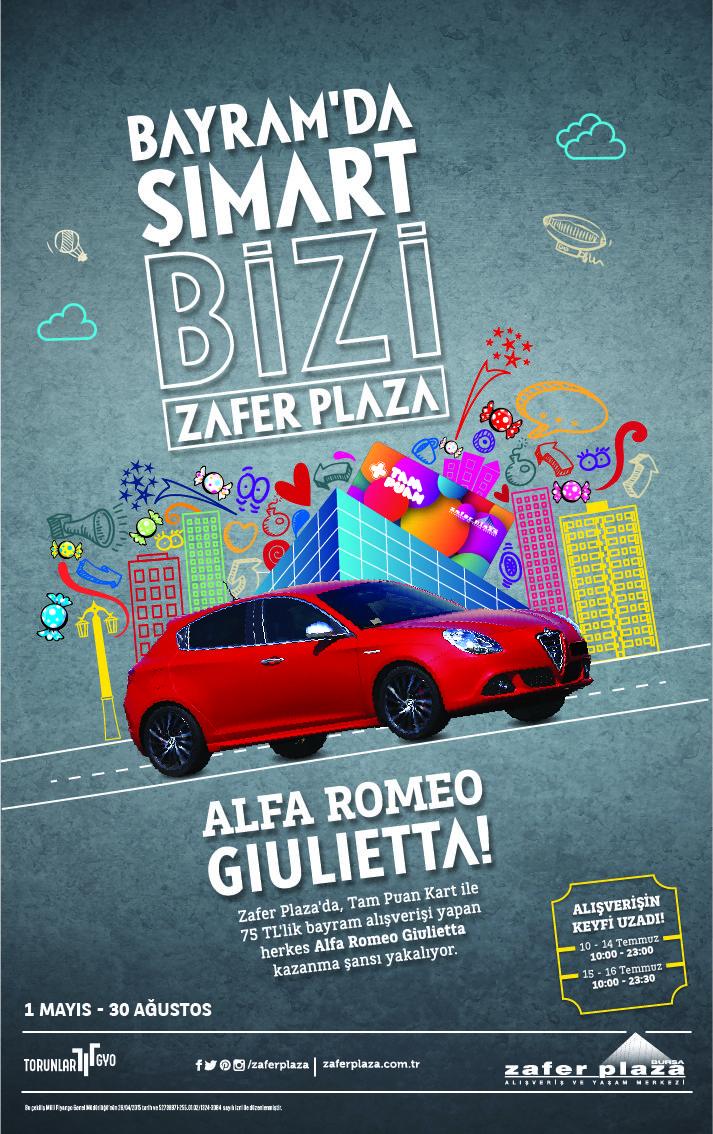 Bayram Alışverişleriniz Alfa Romeo Gıulıetta Hediyeli!!! #zaferplaza #zaferplazaavm #bayram #alışveriş #kadın #erkek #moda #çocuk #kampanya #tampuankart
