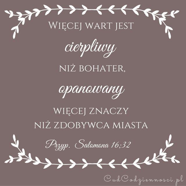 Więcej wart jest cierpliwy niż bohater, opanowany więcej znaczy niż zdobywca miasta Przypowieści Salomona 16;32 Werset Biblijny Cytat