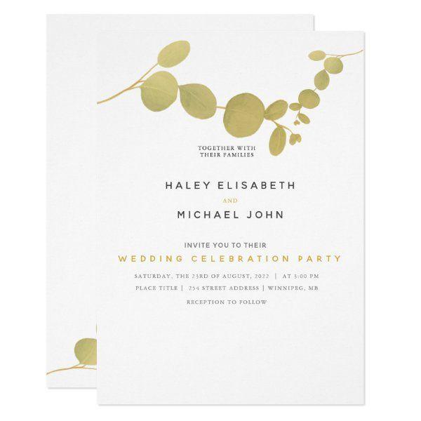 Gold Leaf Wedding Party Invitation Zazzle Com Wedding Party Invites Wedding Celebrations Party Party Invitations