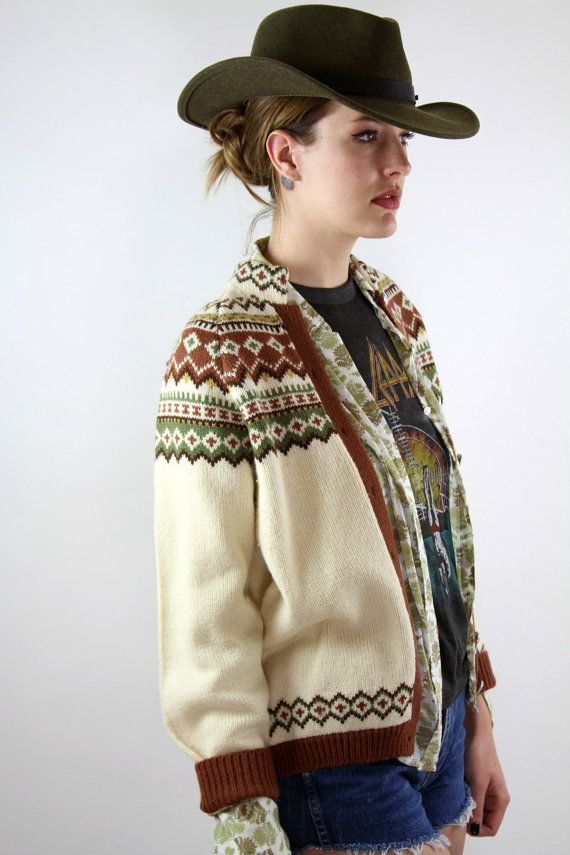 Vintage Boho Norwegian Cardigan Sweater by awesometownvintage, $52.00