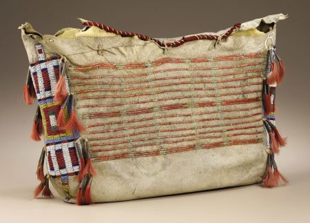Sioux Tipi Bag. Circa 1875. Length 13 1/2 in. Width 21 1/2 - tanned buffalo hide, embellished with dyed quillwork and horsehair