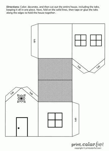 House cutout craft | Print. Color. Fun! Free printables, coloring pages, crafts…