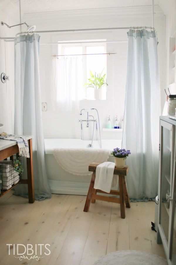 How To Make A Window Curtain Work For A Shower Curtain Cottage Bathroomsdream