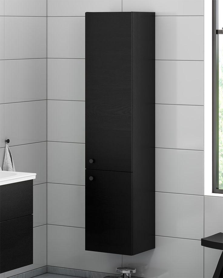 Badrumsförvaring från vår badrumsserie Artic. Högskåp i svart ek.