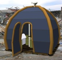 Another inflatable house option.  Looks like some kind of satellite internet on the roof.  Perfect.
