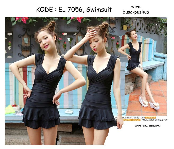 7056-240rb Jual swimsuit hitam polos fashion asian girls new