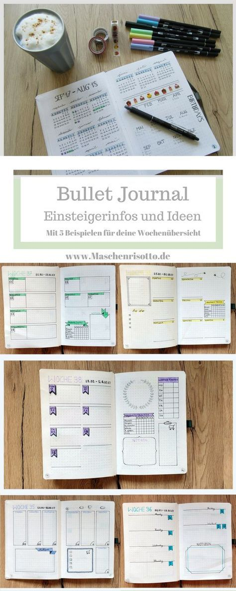 Bullet Journal – Tips and ideas for beginners – with 5 design examples for your weekly layout