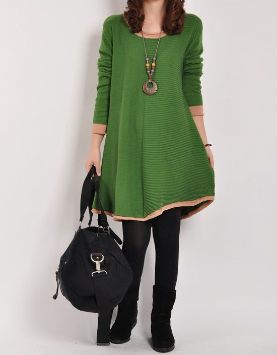 Sweater dress knitwear cotton dress large knitted sweater casual loose sweater coat plus size sweater shirt cotton blouse wool tops - Green