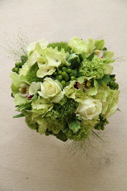 Flower Design Events Green Wedding Bouquet Traditional Hydrangea, Hypericum, Orchid and Rose Bouquet
