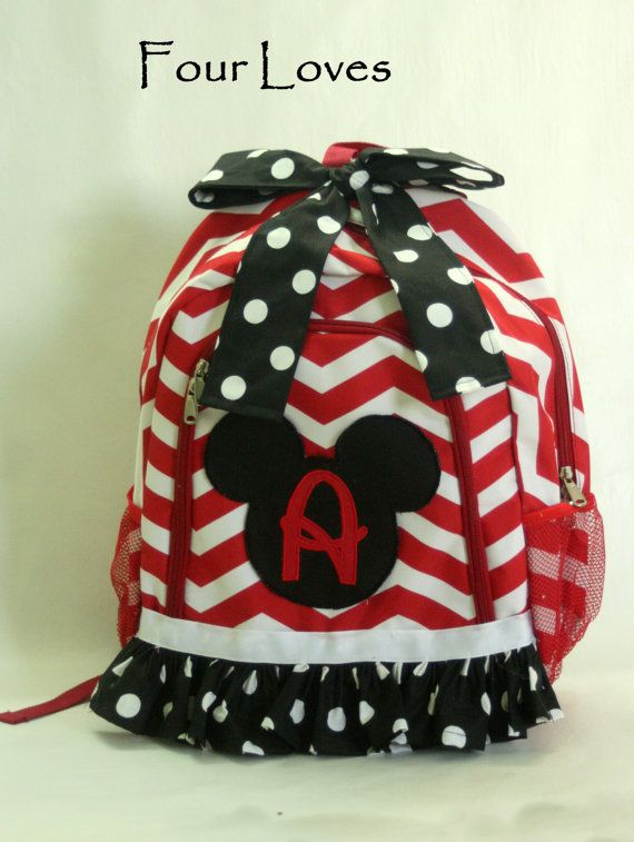 Coupon code: PIN10 for 10% off  Mickey Mouse Backpack by FourLoves on Etsy