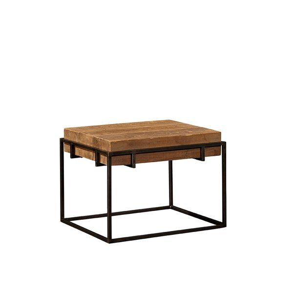 Sturdy and simple, but simply stunning, this end table is fashioned from reclaimed pine timbers corralled in a metal base. While perfectly happy supporting your favorite lamp, this table could also be used in a pair as a unique cocktail table.