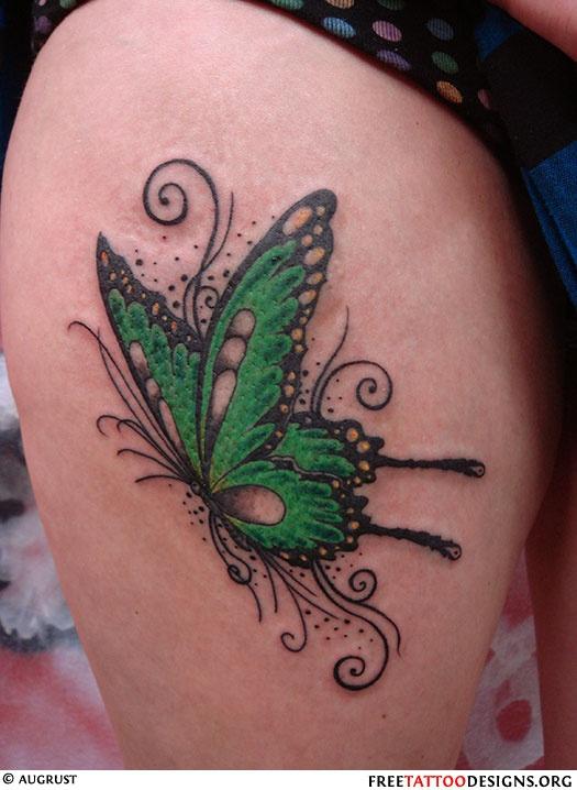 Green butterfly tattoo