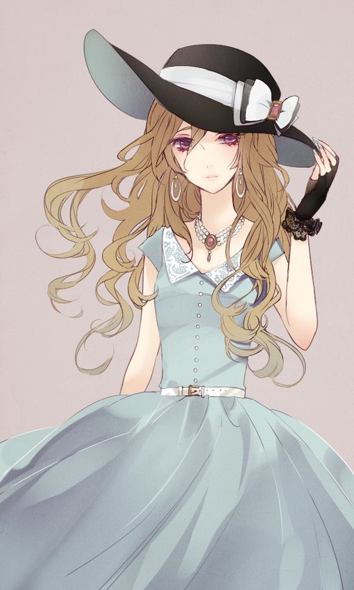 I really like this anime outfit with the large floppy black hat with the white ribbon. Along with the pale blue dress.