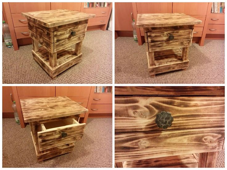 I really love the whole idea of pallet furniture and garden accessories. Since I work for a tire manufacturer, old pallets of all sizes and shapes are quite easy to get for me...so why to spend money on something you can make and design yourself, make it look awesome and do it to fit your exact... #Bedside, #PalletNightstand, #RecycledPallet
