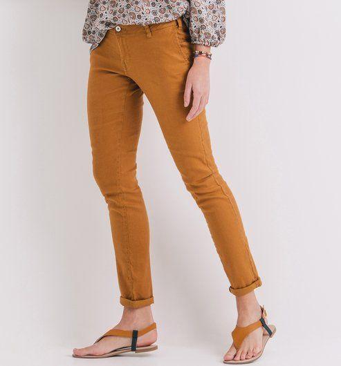Pantalon en lin mélangé Femme ocre - Promod