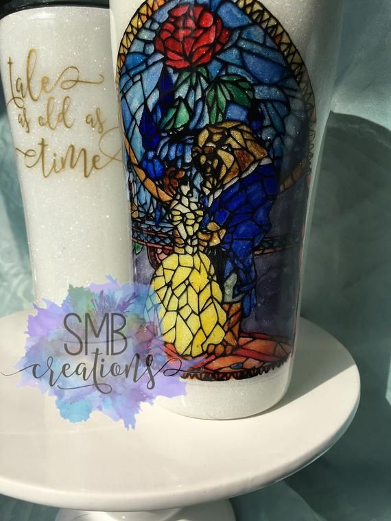 Stained Glass Beauty And The Beast Tumbler Glitter Ozark Etsy Yeti Cup Designs Glitter Tumbler Cups Tumbler Cups Diy