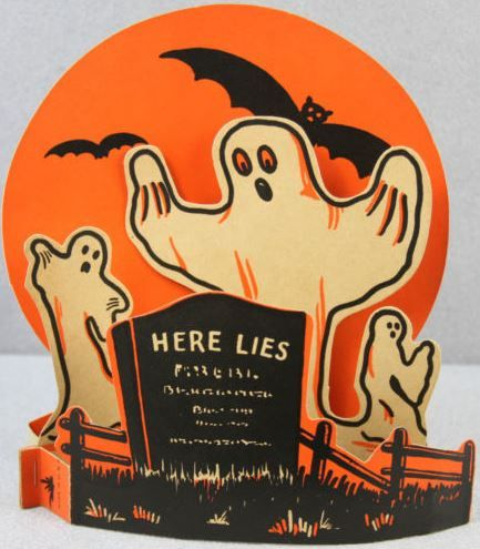 vintage halloween 3d table decoration printed cardboard beistle here lies - Beistle Halloween Decorations